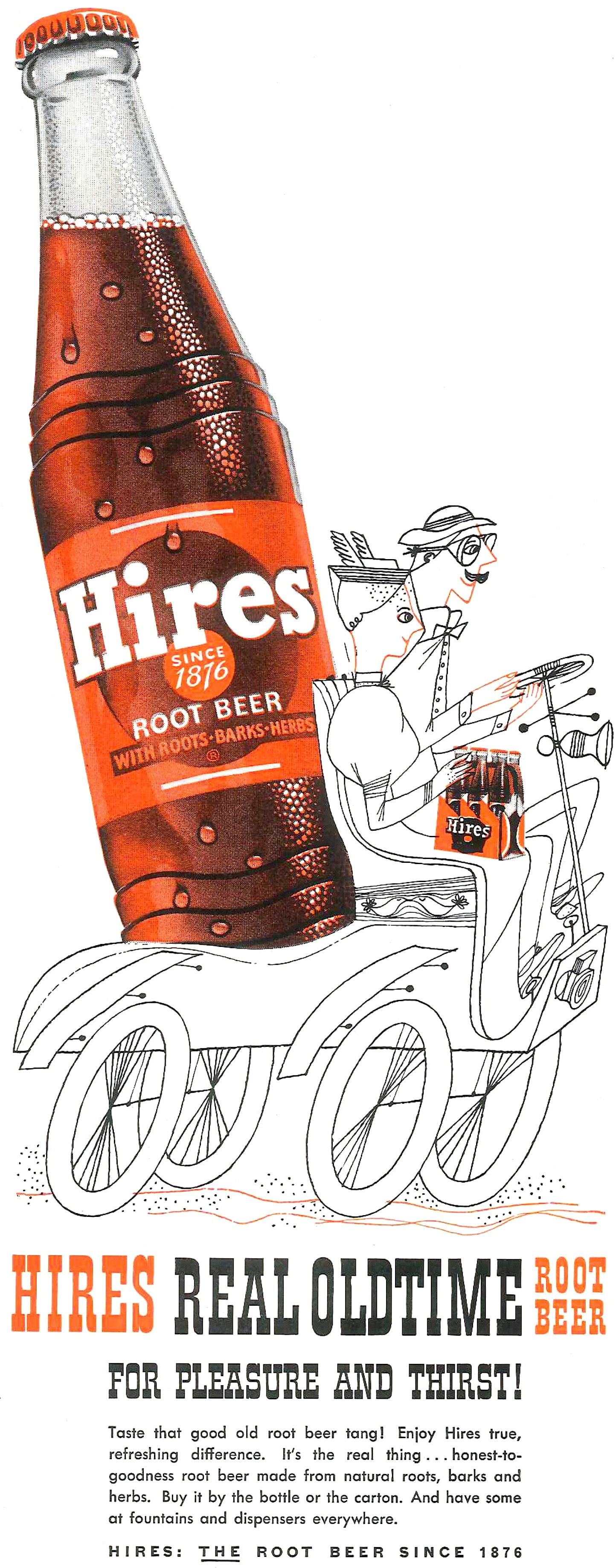 Other Collectible Ads 1953 Hires Real Oldtime Root Beer Bottle Bicycle Built For Two Ad